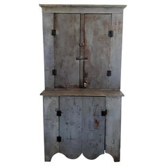 19thc Original Blue Painted Wall Cupboard