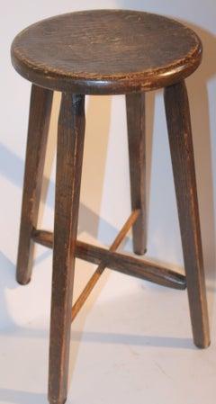 19Thc Original Brown Painted Stool