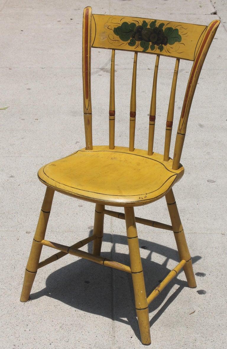 Adirondack 19thc Original Chrome Yellow New England Windsor Chairs, 6 For Sale