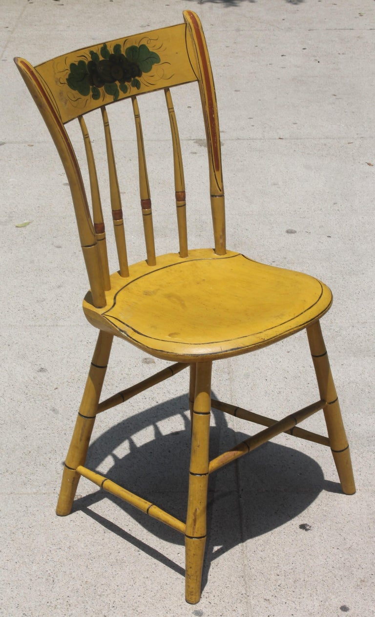 American 19thc Original Chrome Yellow New England Windsor Chairs, 6 For Sale