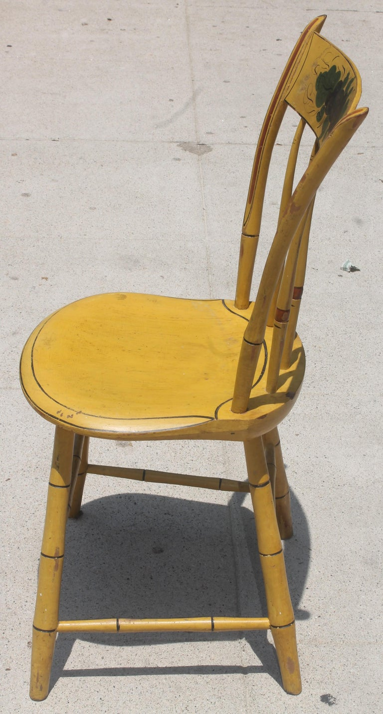 Hand-Painted 19thc Original Chrome Yellow New England Windsor Chairs, 6 For Sale