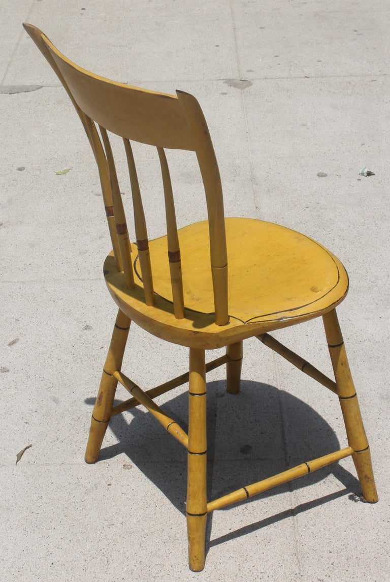 19thc Original Chrome Yellow New England Windsor Chairs, 6 In Good Condition For Sale In Los Angeles, CA