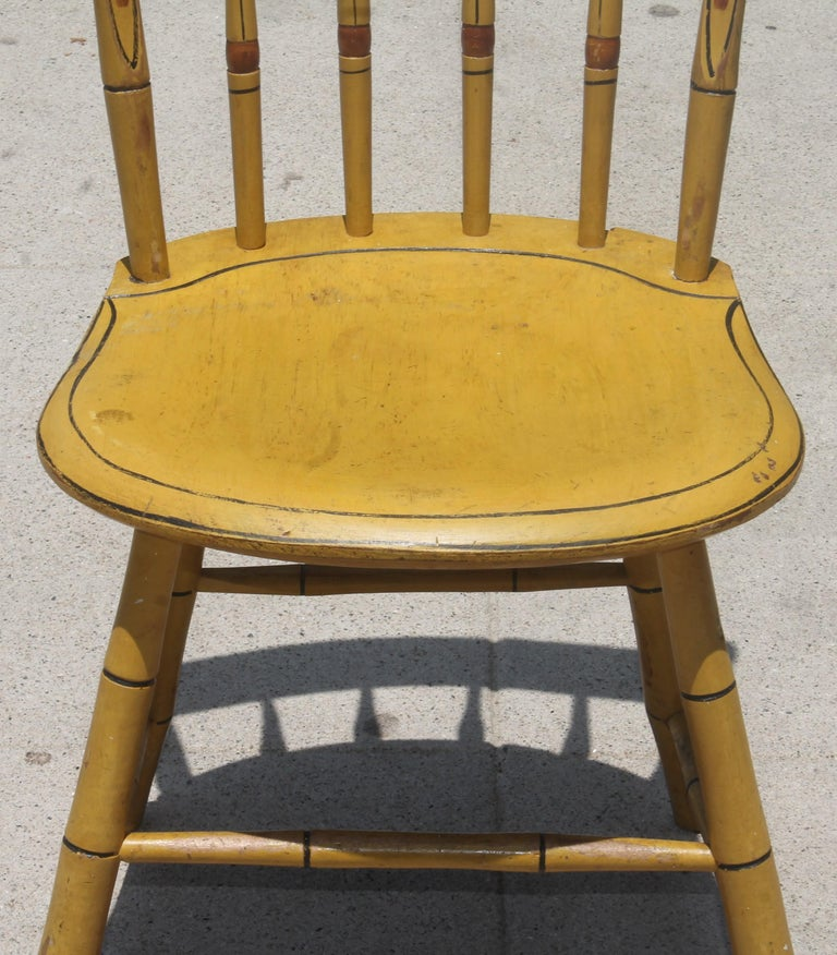 Pine 19thc Original Chrome Yellow New England Windsor Chairs, 6 For Sale