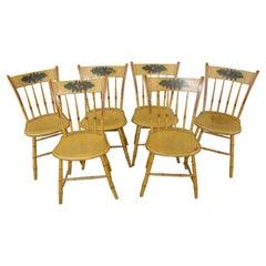 19thc Original Chrome Yellow New England Windsor Chairs, 6