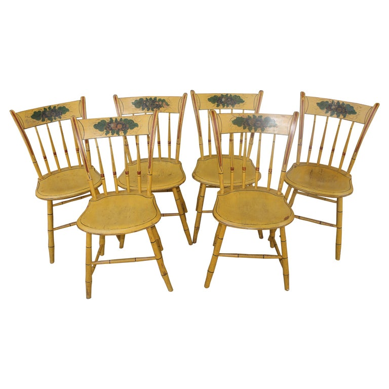 19thc Original Chrome Yellow New England Windsor Chairs, 6 For Sale