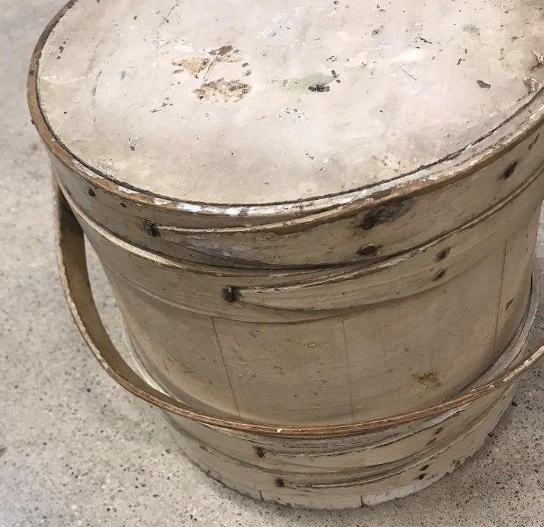 American 19th Century Original Creme Painted Bucket with Original Lid For Sale