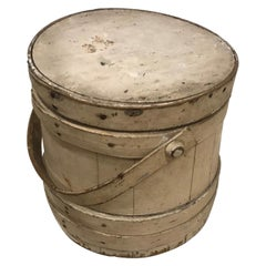 19th Century Original Creme Painted Bucket with Original Lid