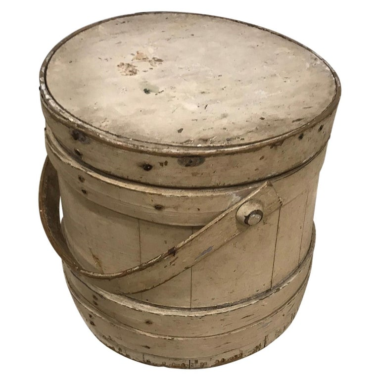 19th Century Original Creme Painted Bucket with Original Lid For Sale