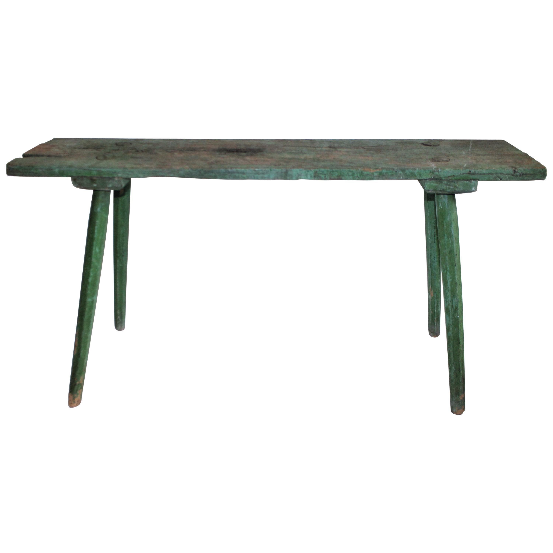 19th Century Original Green Painted Bench