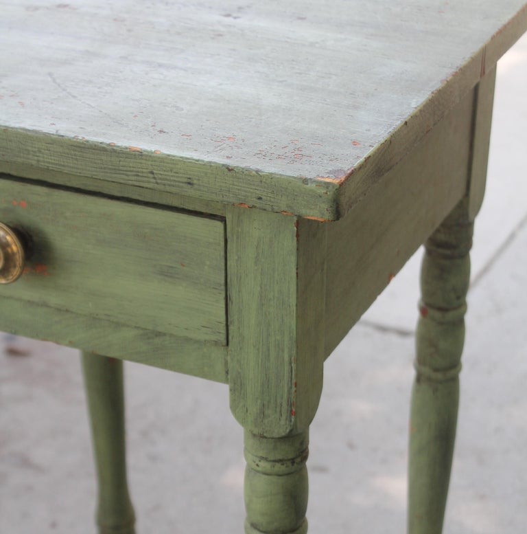 Adirondack 19thc Original Green Painted One Drawer Stand For Sale