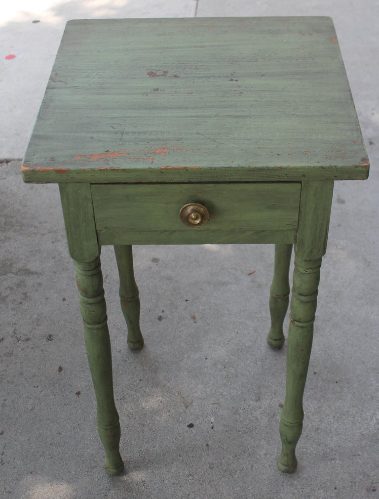 American 19thc Original Green Painted One Drawer Stand For Sale