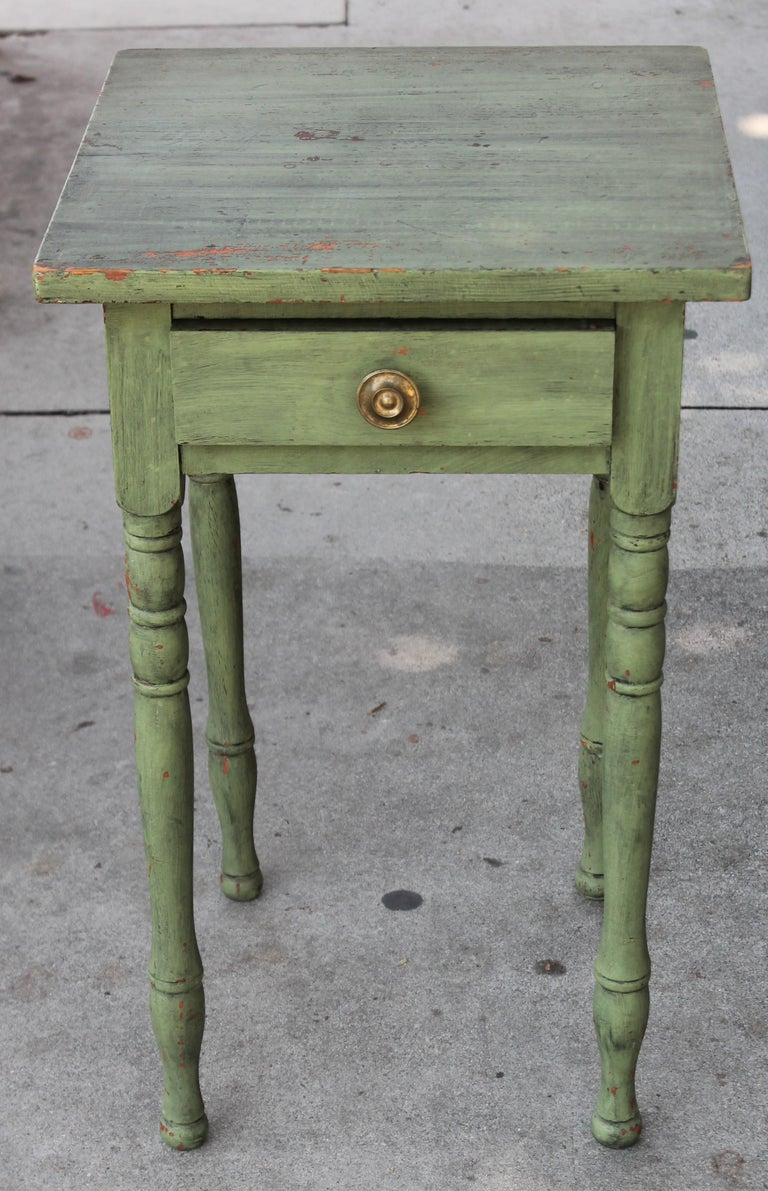 Hand-Crafted 19thc Original Green Painted One Drawer Stand For Sale