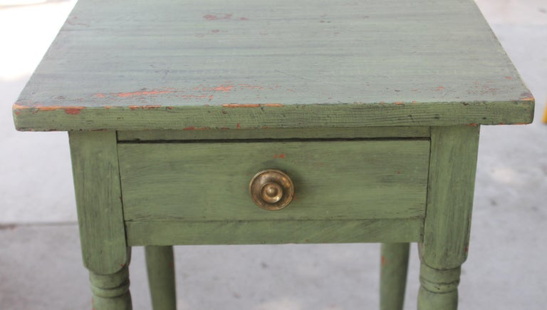 19th Century 19thc Original Green Painted One Drawer Stand For Sale