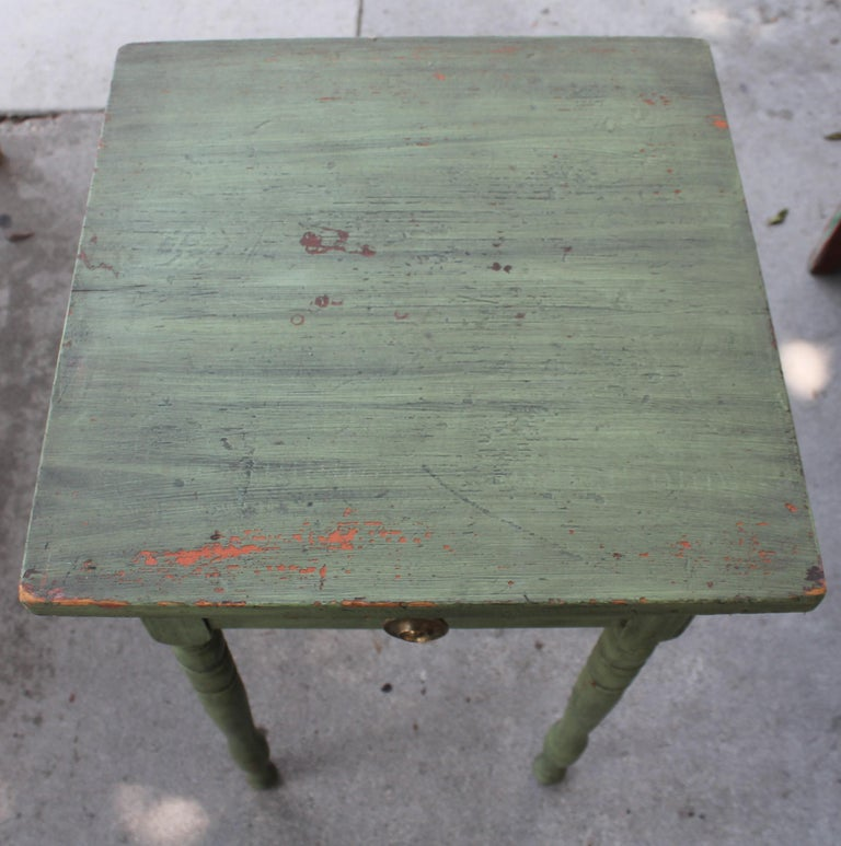 Pine 19thc Original Green Painted One Drawer Stand For Sale