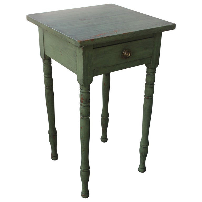 19thc Original Green Painted One Drawer Stand For Sale