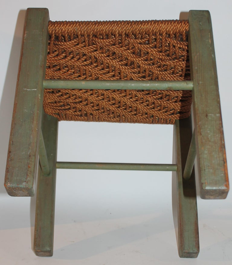 19thC Original Green Painted Stool with Woven Seat For Sale 1