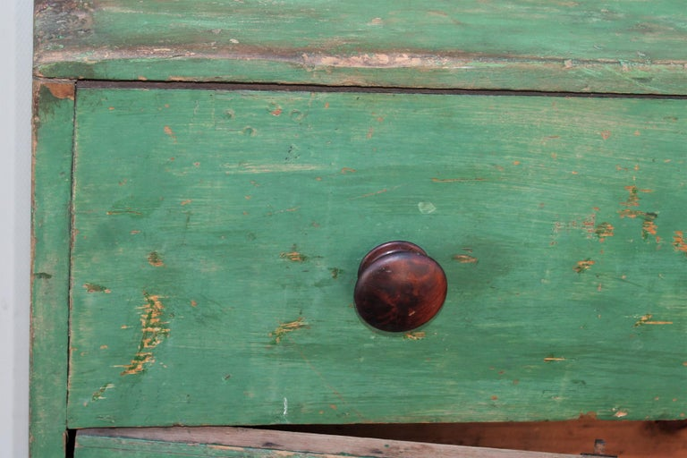 19th Century Original Green Painted Two-Door Cabinet from Pennsylvania For Sale 3