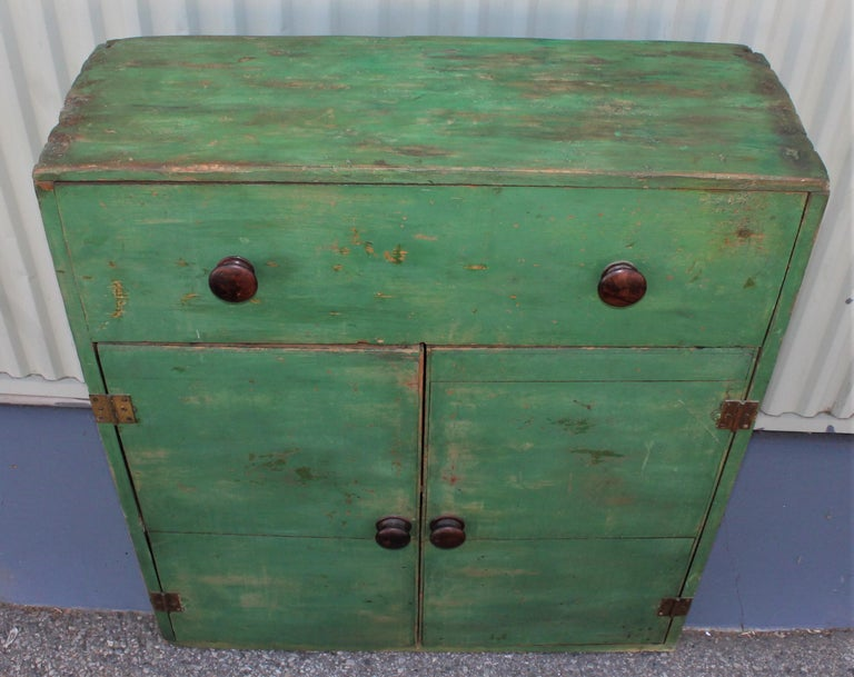 Country 19th Century Original Green Painted Two-Door Cabinet from Pennsylvania For Sale