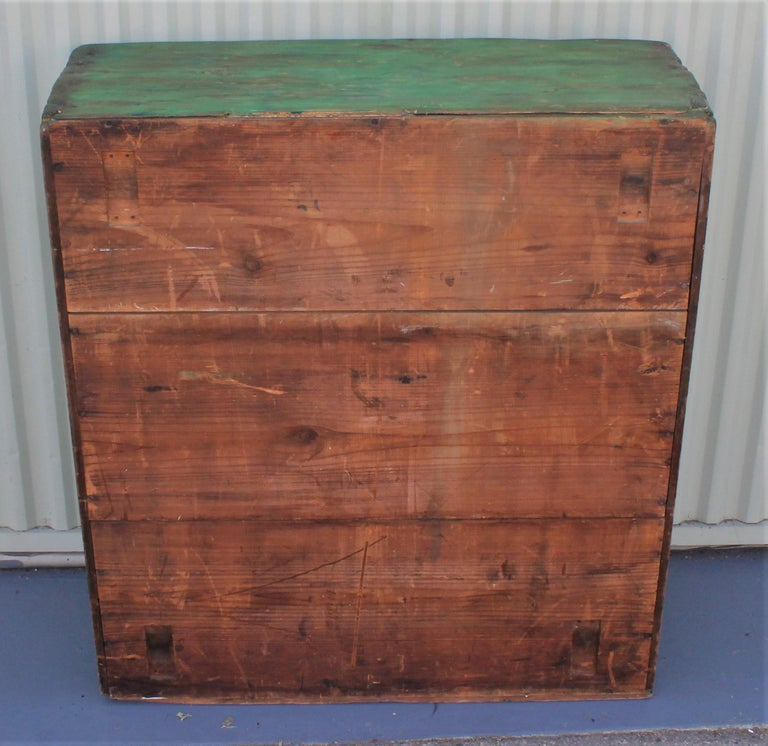 American 19th Century Original Green Painted Two-Door Cabinet from Pennsylvania For Sale
