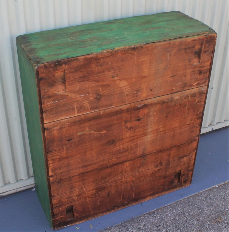 Hand-Crafted 19th Century Original Green Painted Two-Door Cabinet from Pennsylvania For Sale