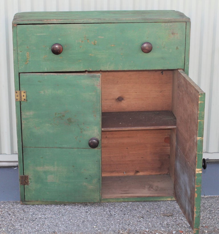 Wood 19th Century Original Green Painted Two-Door Cabinet from Pennsylvania For Sale
