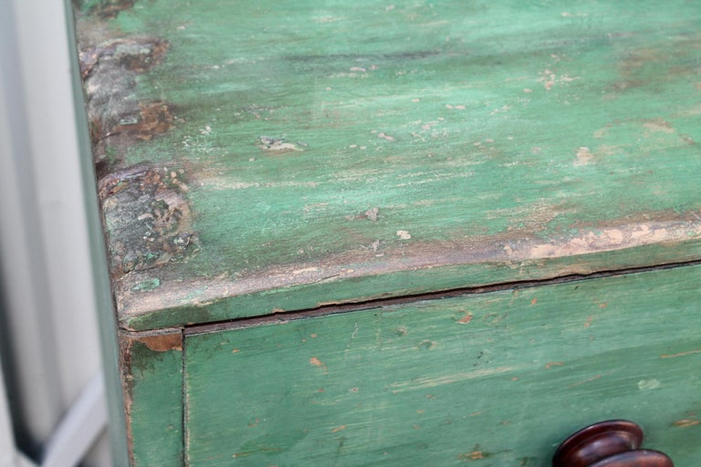 19th Century Original Green Painted Two-Door Cabinet from Pennsylvania For Sale 1