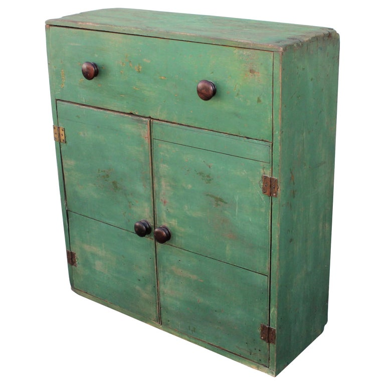 19th Century Original Green Painted Two-Door Cabinet from Pennsylvania For Sale