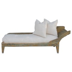 19th Century Original Mustard Painted Day Bed with Homespun Linen Cushion