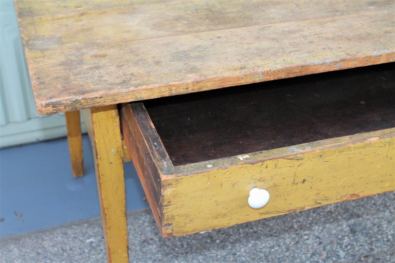 19th Century Original Mustard Painted Farm Table For Sale 4