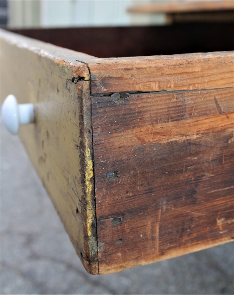 19th Century Original Mustard Painted Farm Table For Sale 5