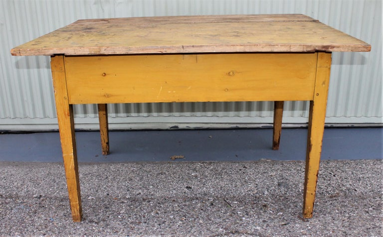 19th Century Original Mustard Painted Farm Table For Sale 6