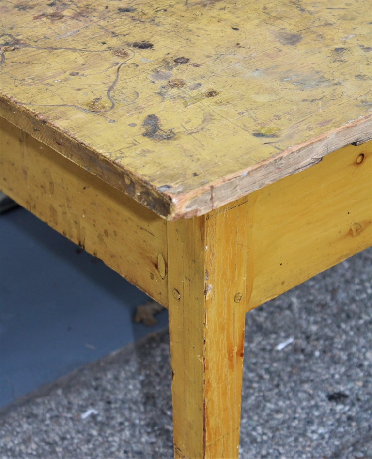 19th Century Original Mustard Painted Farm Table For Sale 7