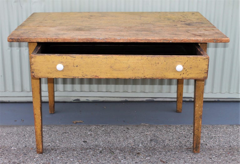 Country 19th Century Original Mustard Painted Farm Table For Sale
