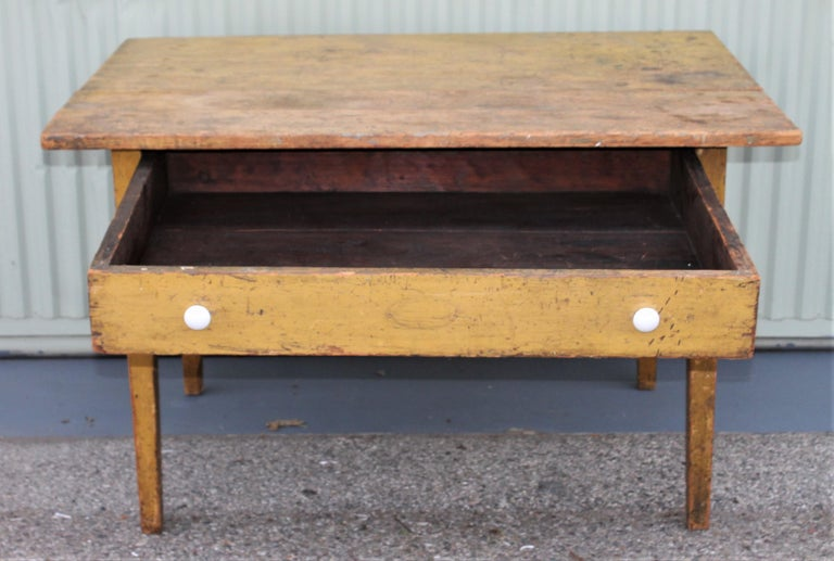 American 19th Century Original Mustard Painted Farm Table For Sale