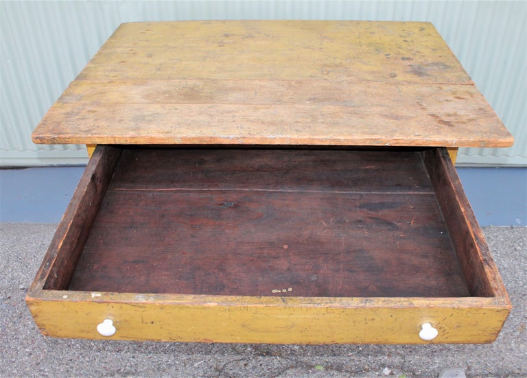 Hand-Crafted 19th Century Original Mustard Painted Farm Table For Sale