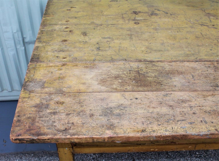 19th Century Original Mustard Painted Farm Table In Distressed Condition For Sale In Los Angeles, CA