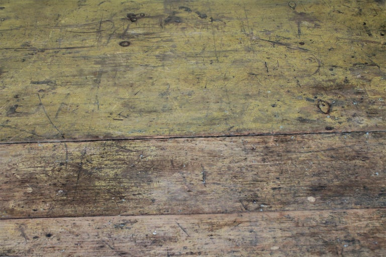 Wood 19th Century Original Mustard Painted Farm Table For Sale
