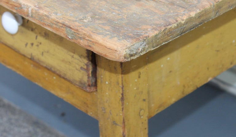 19th Century Original Mustard Painted Farm Table For Sale 1