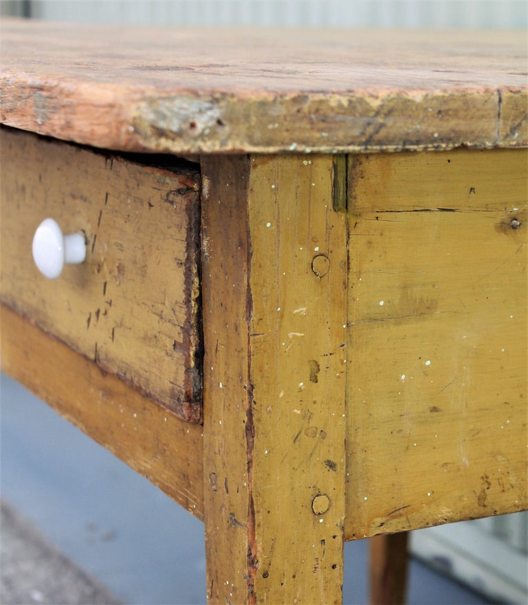 19th Century Original Mustard Painted Farm Table For Sale 2