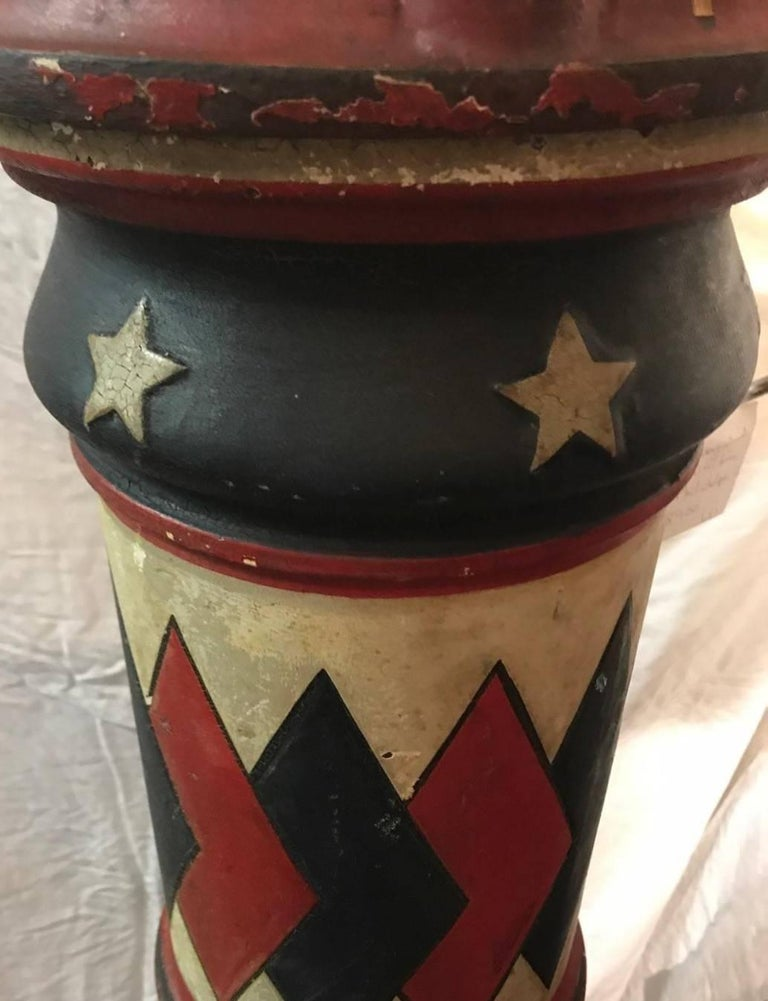Original James Barker Foundry barber pole. This pole was manufactured in Philadelphia, Pennsylvania to coincide with the American Revolution centennial. This pole is cast iron and was made before porcelain coatings were used. Hallow brass tubes