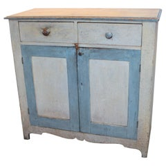 19th Century Original Painted Blue & White Jelly Cupboard