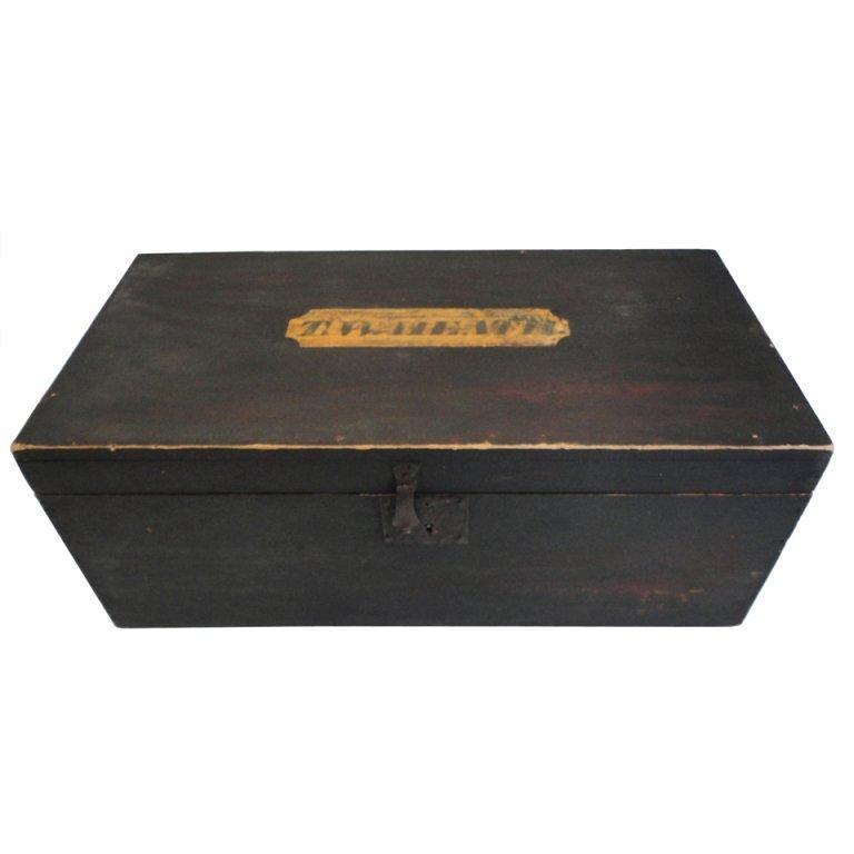 "19thc Original Painted  Document Box Signed "" T.W.HEATH "" Vermont 1810"