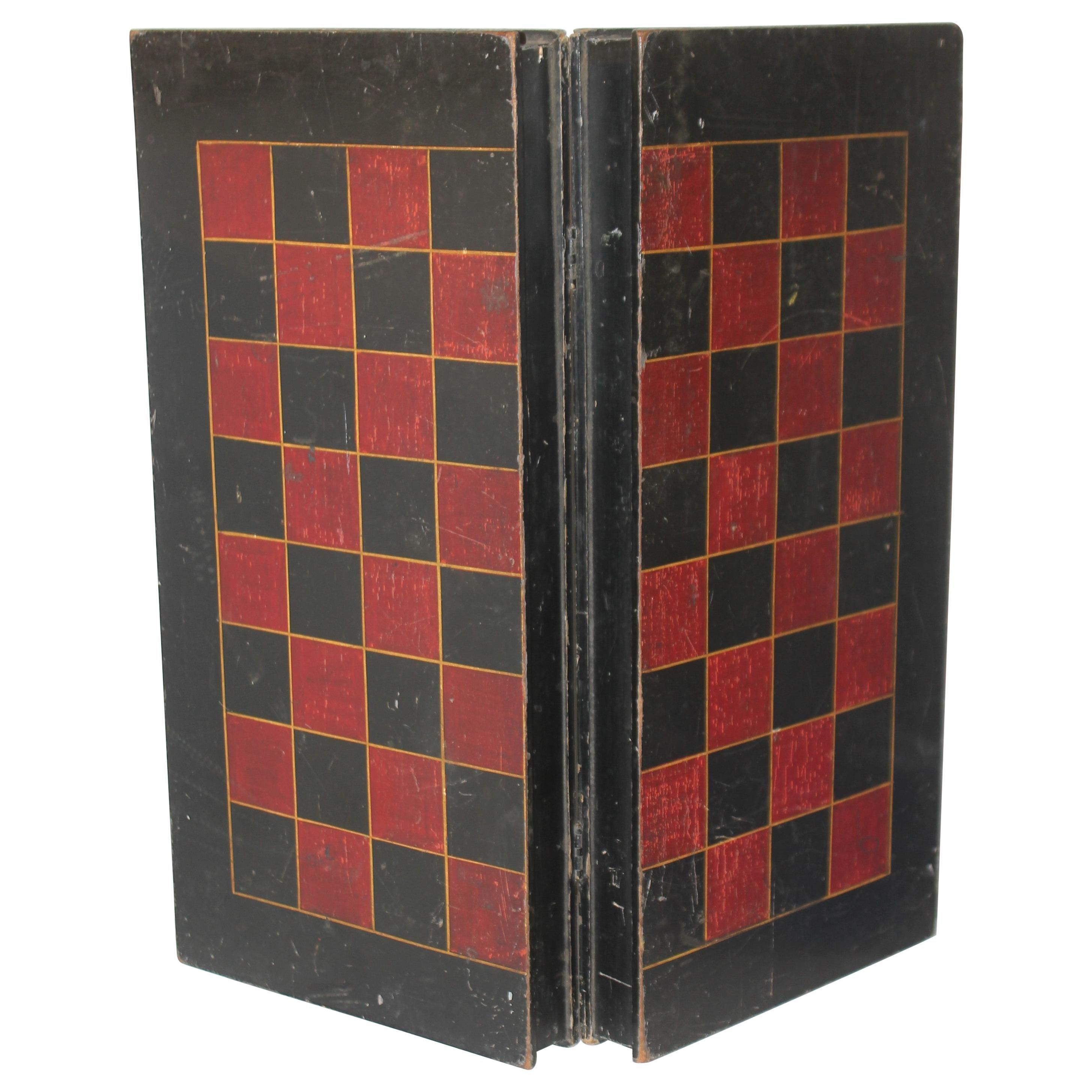 19thc Original Painted Folding Game Board