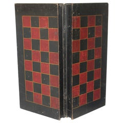 19thc Original Painted Folding Game Board