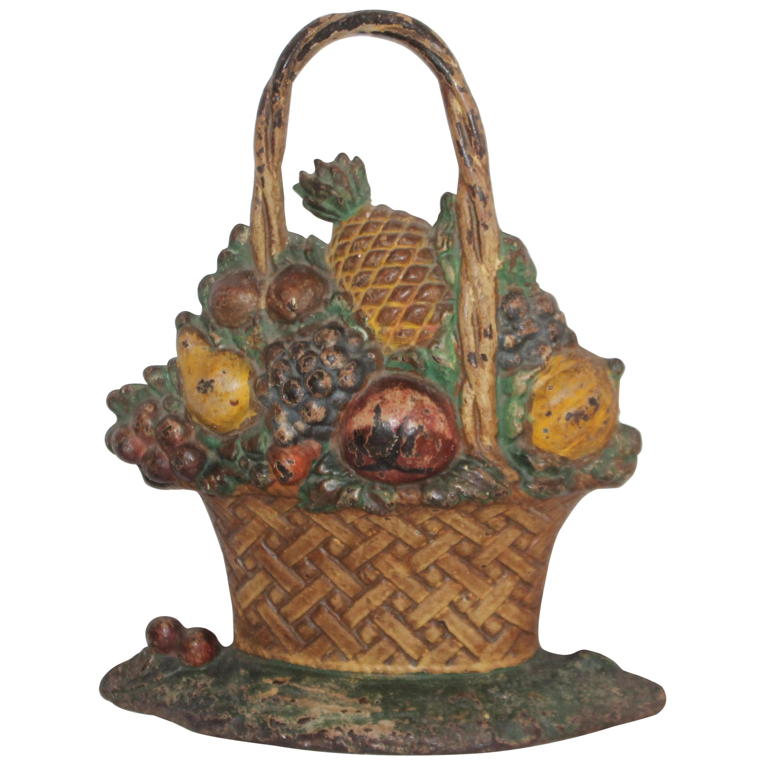 19th Century Original Painted Fruit Basket Door Stop