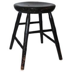 19th C Original Painted Green Windsor New England Stool