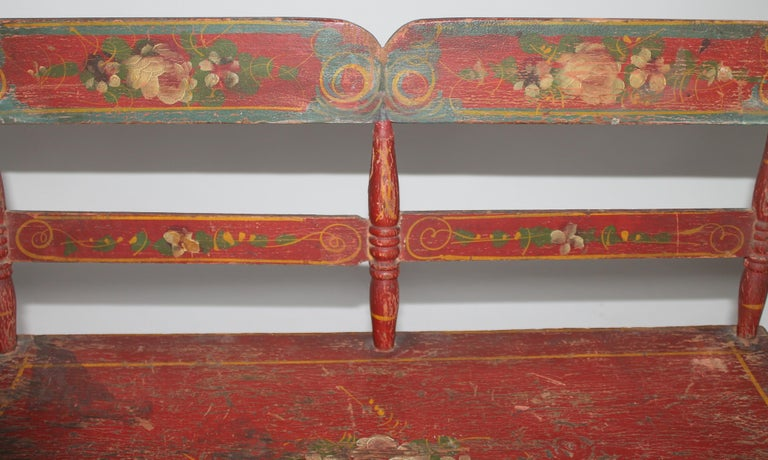 19thc Original Painted Miniature Settee From Pennsylvania For Sale 2