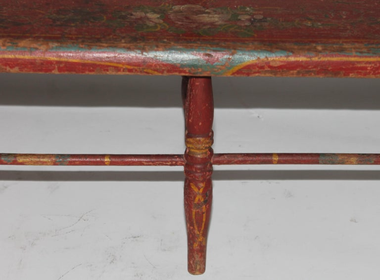 19thc Original Painted Miniature Settee From Pennsylvania For Sale 3