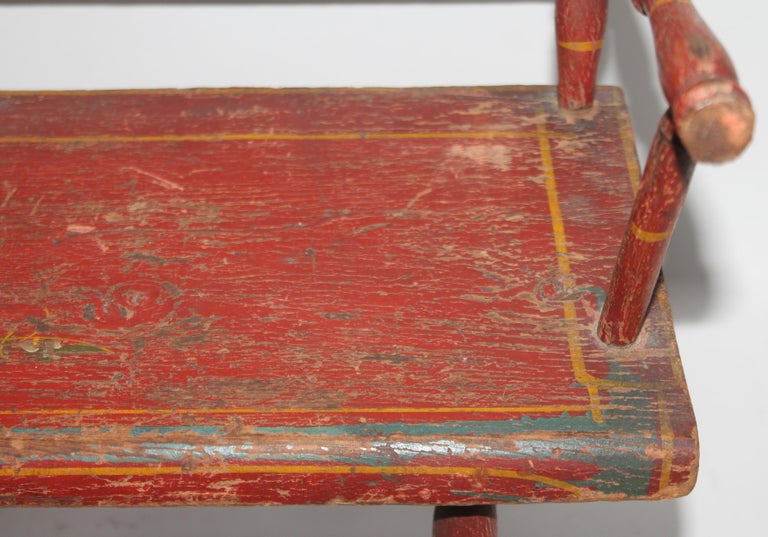 19thc Original Painted Miniature Settee From Pennsylvania For Sale 4