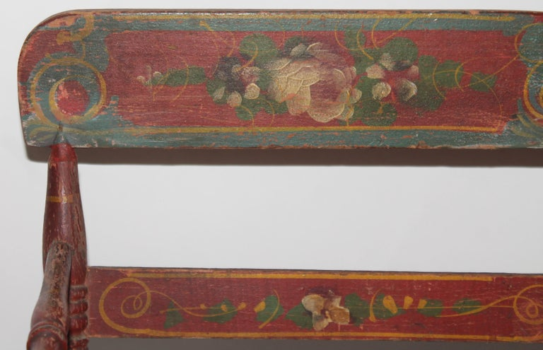 19thc Original Painted Miniature Settee From Pennsylvania For Sale 6
